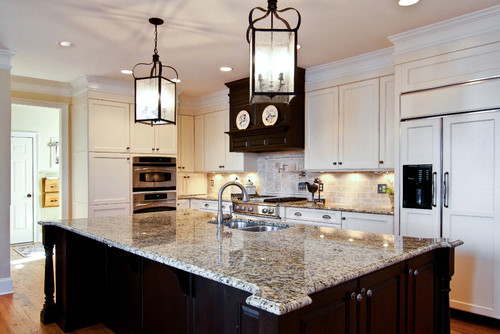 New Caledonia Granite White Cabinets Backsplash Ideas on Backsplash Ideas For White Cabinets And Granite Countertops  id=71369