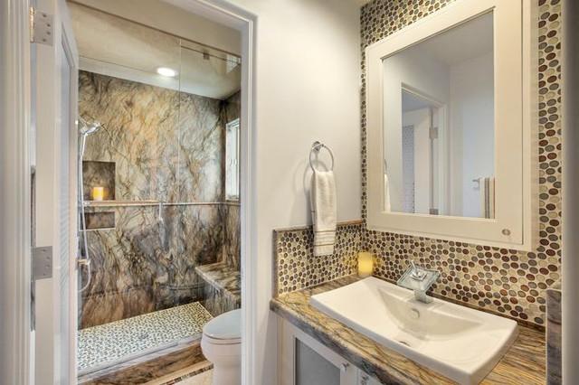 Everglade Pennyround Tile Bathroom Backsplash