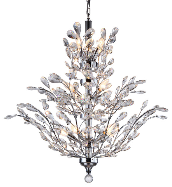 18 Light Crystal Chandelier Chrome With European Crystals Contemporary Chandeliers