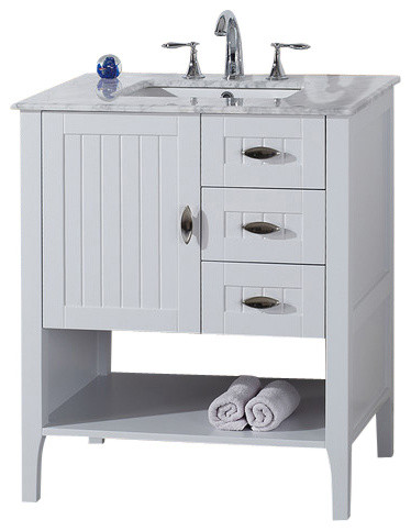"30"" single-sink vanity, white with marble top, white - transitional"