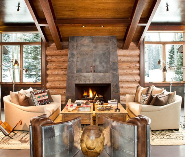 Symmetrical Log Cabin Living Room