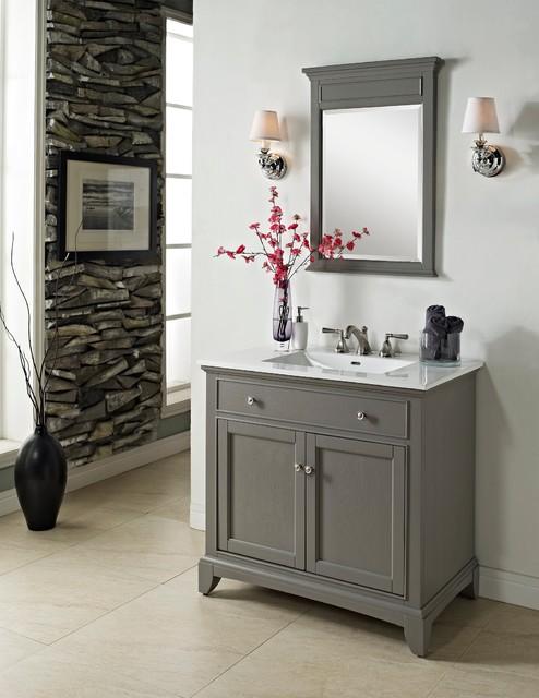 """fairmont smithfield 36"""" vanity - medium gray - modern - bathroom"""