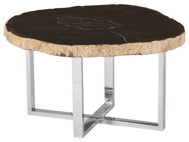 """30"""" Wide Coffee Table Petrified Wood Stone Base Stainless"""