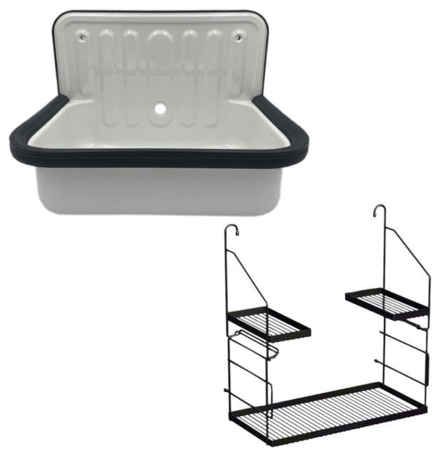 wall mounted service utility sink white glazed steel with storage caddy navy