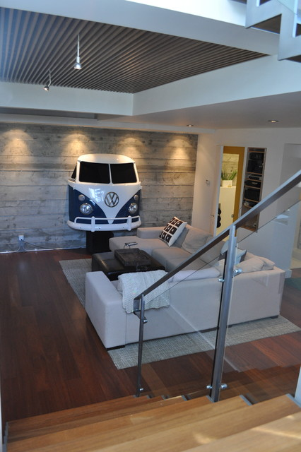 Basement Addition Exposed Concrete Walls Wood Grille