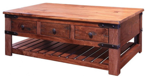 granville parota rustic solid wood coffee tabe with 6 drawers