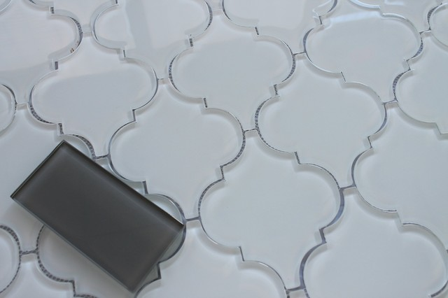 snow white arabesque glass mosaic tile sample