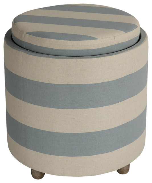 cortesi home keyes round storage ottoman with tray top blue and white striped f