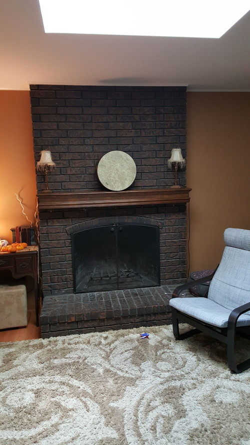 Painted Fireplaceblue Brown Creme Fireplace