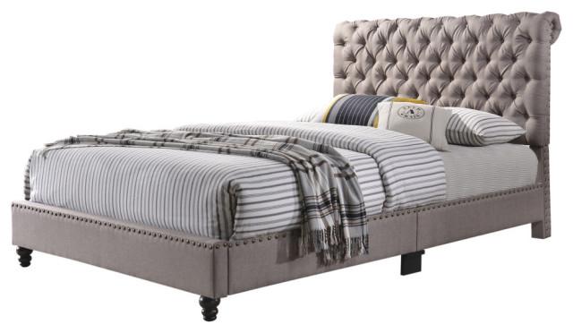 julie queen bed tan