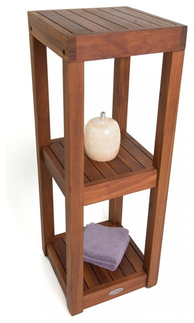 spa collection 3-tier teak bath stand - contemporary - bathroom