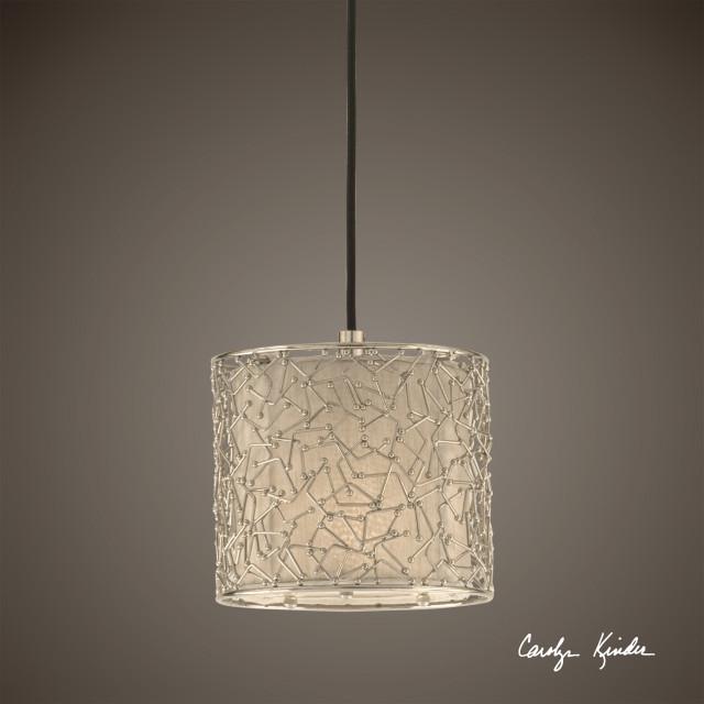 uttermost brandon 1 light mini drum pendant silver