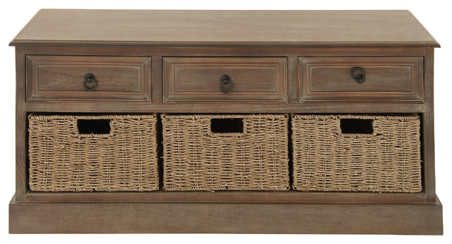 Rustic Country Wood 3 Baskets Chest Brown Beach Style