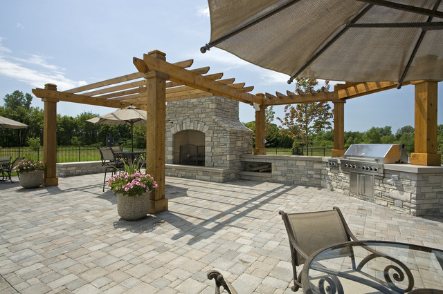 Outdoor BBQ Area - Traditional - Landscape - Minneapolis ... on Patio Grilling Area  id=80095