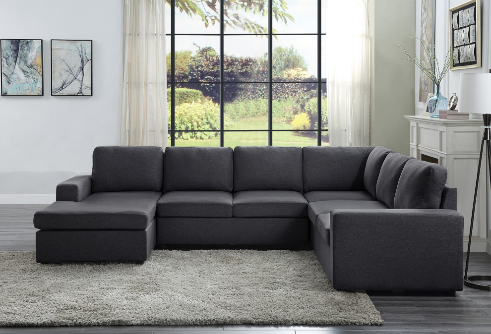 warren sectional sofa with reversible chaise in dark gray linen