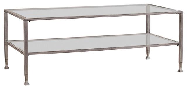symon metal glass rectangular open shelf cocktail table silver