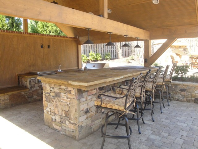 Outdoor Kitchen Bar and Grill - Traditional - Patio ... on Outdoor Grill Patio id=79572