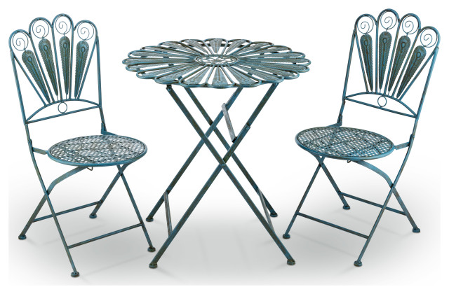 alpine peacock feather bistro set with table and two chairs 30