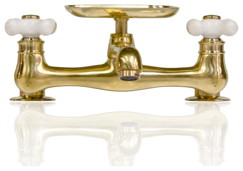 natural brass deck mount short spout utility bridge faucet with conversion kit