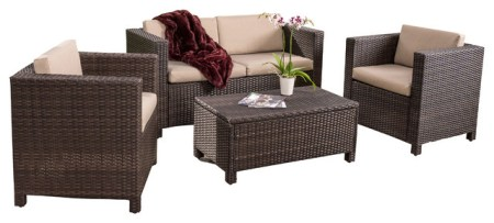 Venice 4 Piece Outdoor Wicker Sofa Set With Cushions   Tropical     Venice 4 Piece Outdoor Wicker Sofa Set With Cushions