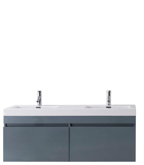 zuri 55 double bathroom vanity grey white polymarble top square sinkfaucet
