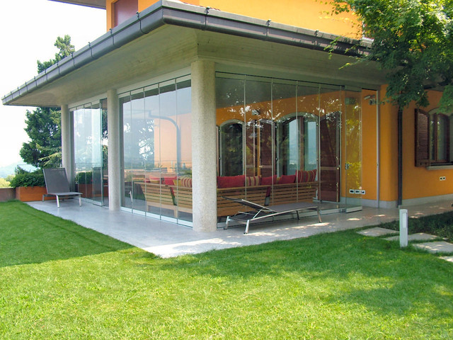 Patio closed off with folding glass doors, water and ... on Closed Patio Design id=74753