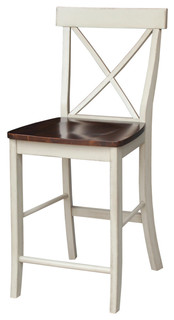 X-Back Counter Height Stool, Antiqued Almond and Espresso