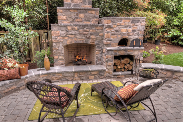 Outdoor Fireplace with pizza oven - Traditional - Patio ... on Outdoor Patio With Pizza Oven  id=79760