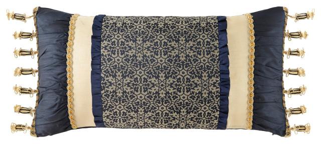 vaughn navy gold 12 x24 decorative pillow