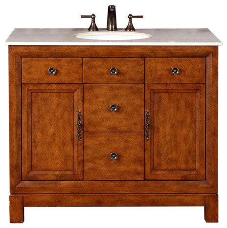 42 inch brown bathroom vanity with single sink marble top traditional