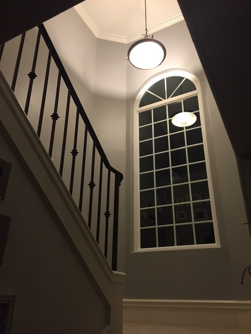 The Pendant Chandelier On Our Stairway Landing We Are Moving Toward More Of A Contemporary Look For House Just Can T Decide What To Do Here