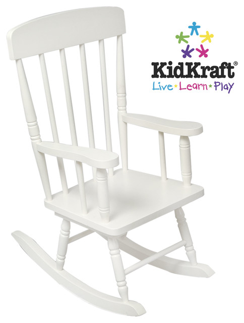 Kids Chair Kidkraft Spindle Rocking Chair In White Color