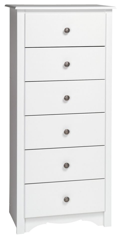 monterey tall 6 drawer chest white