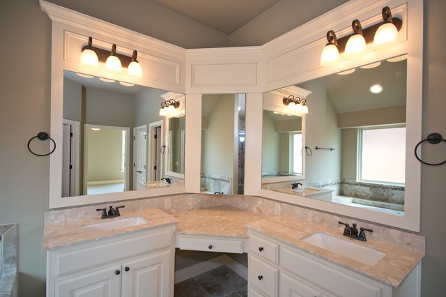 Master Bath With Corner Vanity And Double Sinks