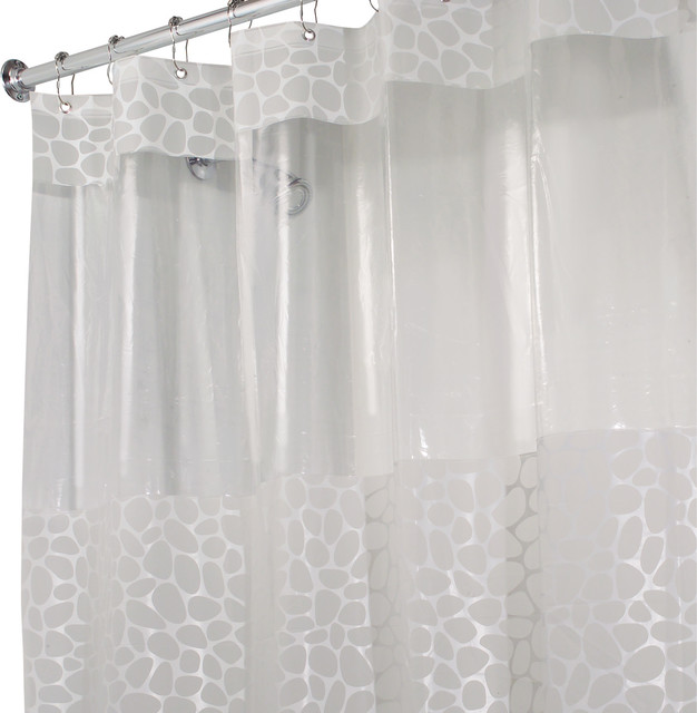 interdesign clear frosted pebblz shower curtain