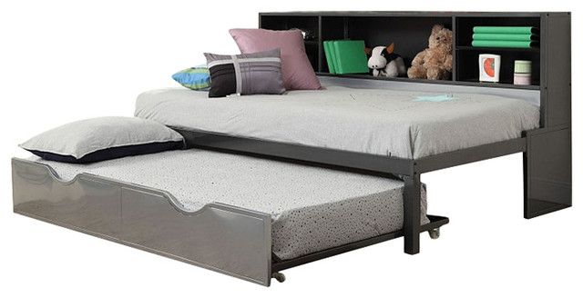 Renell Silver Black Finish Twin Size Bed And Trundle With Bookcase Storage Contemporary Kids