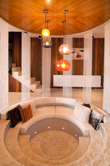Resort Penthouse Conversation Pit - Contemporary - Living ... on Living Room Fire Pit id=78088