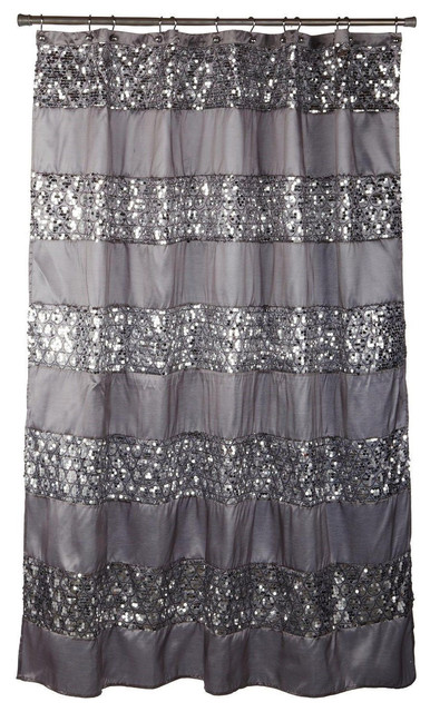 sinatra silver fabric shower curtain with sequins