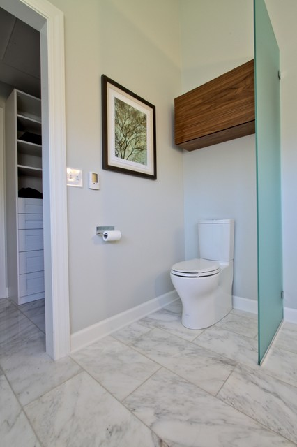 glass partition toilet area with walnut storage cabinet over toilet contemporary bathroom