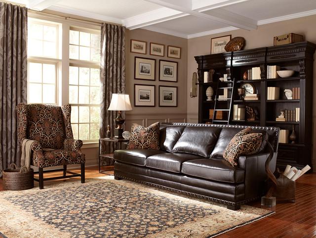 Dark Brown Leather Sofa with Nailhead Trim - Contemporary ...