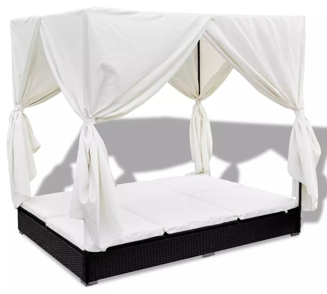 vidaxl outdoor lounge bed w curtains poly rattan black bed curtain patio