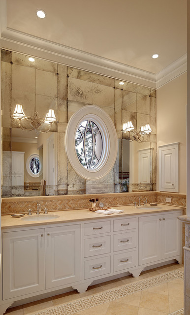 French Bistro Antique Glass At Master Bath Vanity