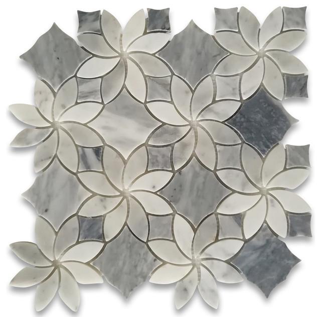 carrara white marble ice flower blossom mosaic tile w bardiglio gray honed
