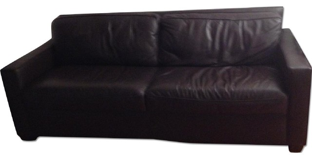 West Elm Coffee Color Leather Couch Sofas New York