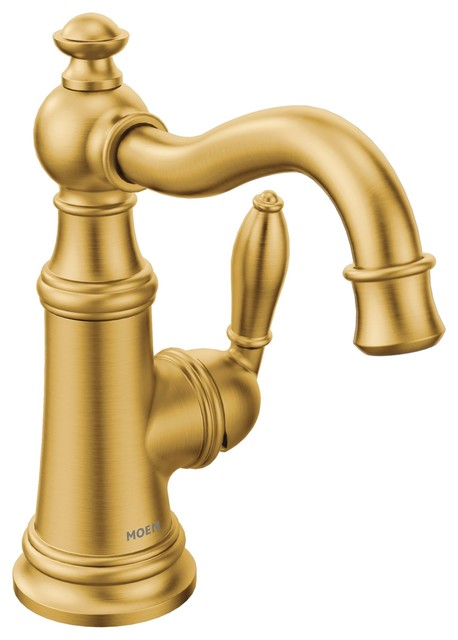 moen weymouth brushed gold one handle bathroom faucet