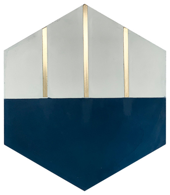 claw navy blue hexagon cement tile with brass inlay sample