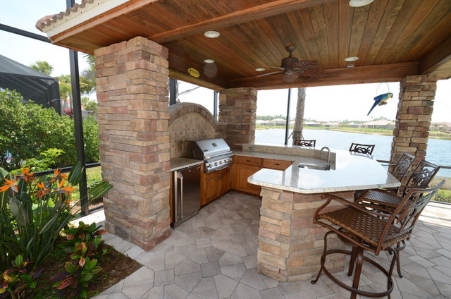 Outdoor kitchen cabinets - Traditional - Patio - Tampa ... on Outdoor Kitchen Patio  id=94695