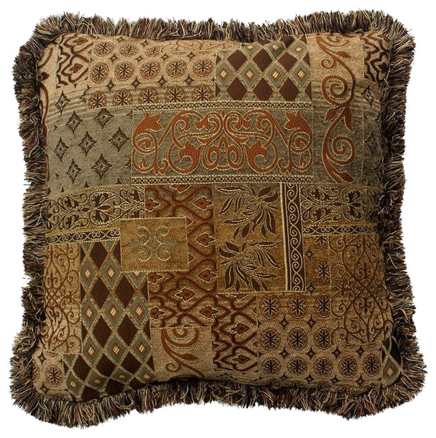 gold and brown transitional throw pillow with fringe 14 x19