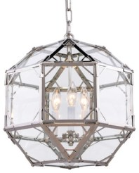 "Parisian 3-Light 14"" Clear Glass Pendant, Polished Nickel, Without LED Bulbs"