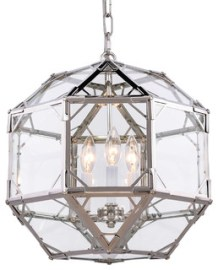"""Parisian 3-Light 14"""" Clear Glass Pendant, Polished Nickel, Without LED Bulbs"""